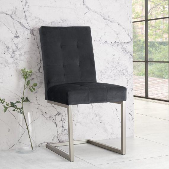 Tivoli Cantilever Dining Chair - Gun Metal Velvet (Pair)