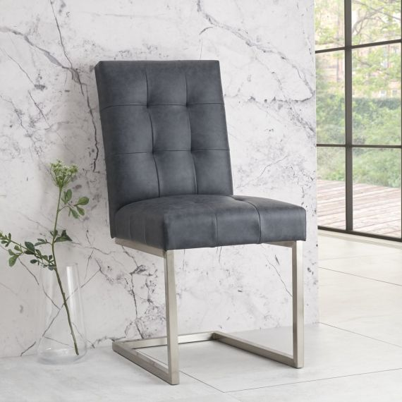 Tivoli Cantilever Dining Chair - Mottled Black Faux Leather (Pair)