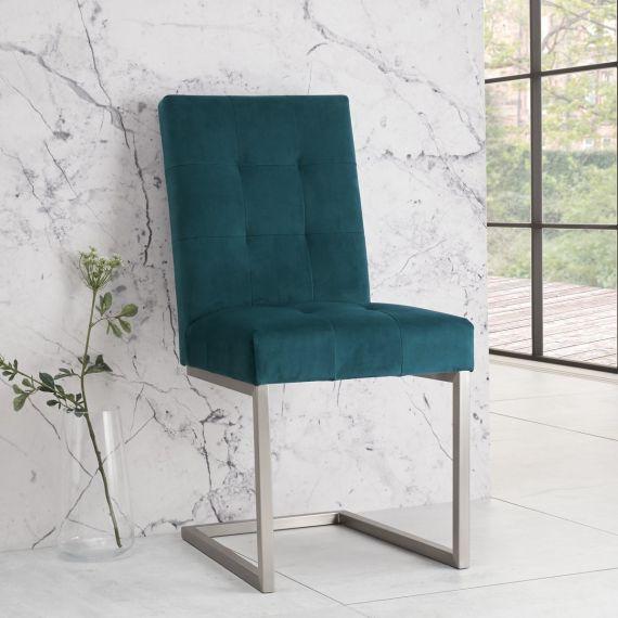 Tivoli Cantilever Dining Chair - Sea Green Velvet (Pair)