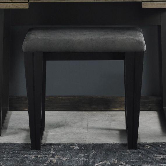 Tivoli Peppercorn Dressing Table Stool - Dark Grey Fabric