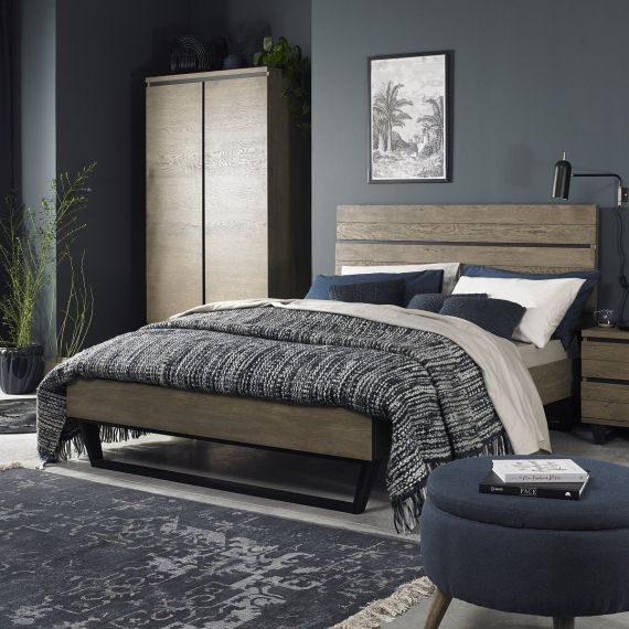 Tivoli Weathered Oak Double Bed - Low Foot End