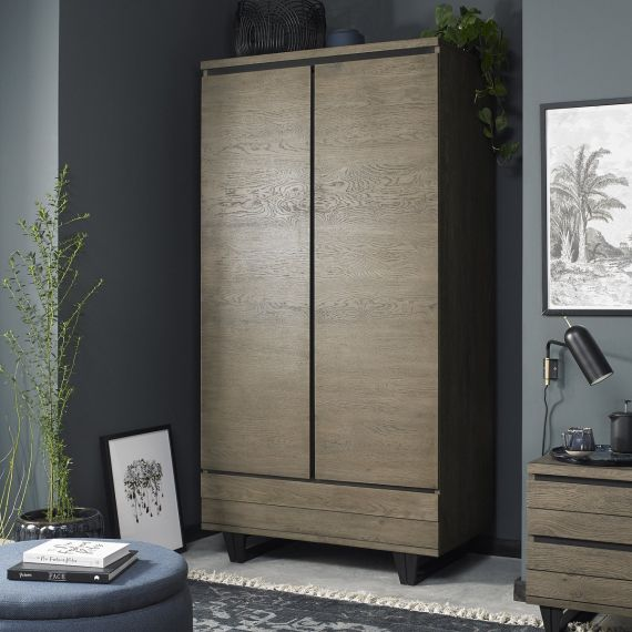 Tivoli Weathered Oak Double Wardrobe with Drawer