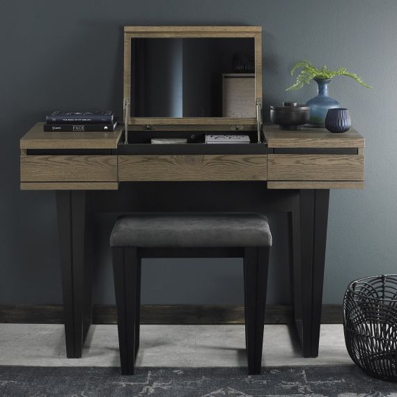 Tivoli Weathered Oak Dressing Table with Lift Up Mirror