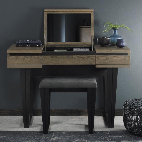 Tivoli Weathered Oak Dressing Table with Lift Up Mirror