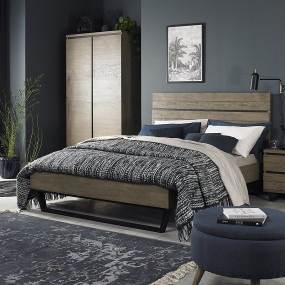 Tivoli Weathered Oak King Size Bed - Low Foot End