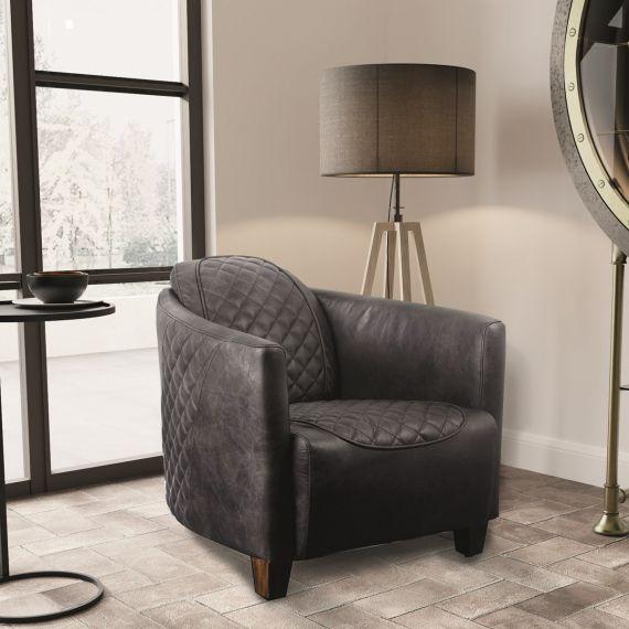 Triumph Daytona Chair - Grey Aniline Leather