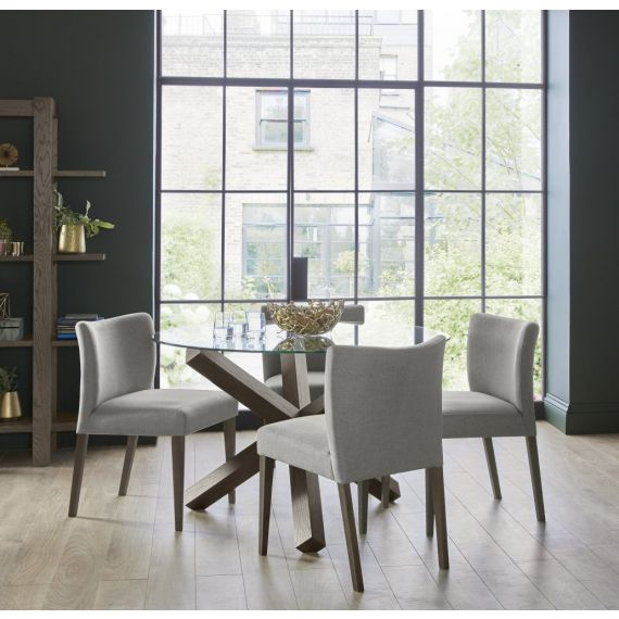 Turin Dark Oak Round Glass Top Dining Table 4 Seater