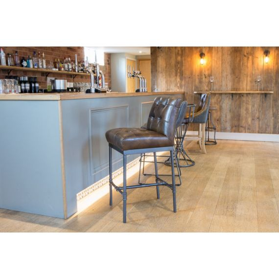 Union Button Back Bar Stool
