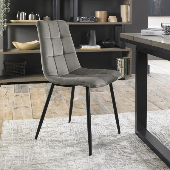 Upholstered Chair with Square Stitched Pattern - Grey Velvet Fabric (Pair)