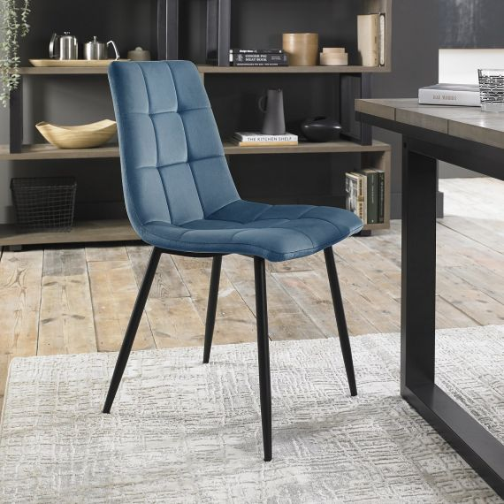 Upholstered Chair with Square Stitched Pattern - Petrol Blue Velvet Fabric (Pair)