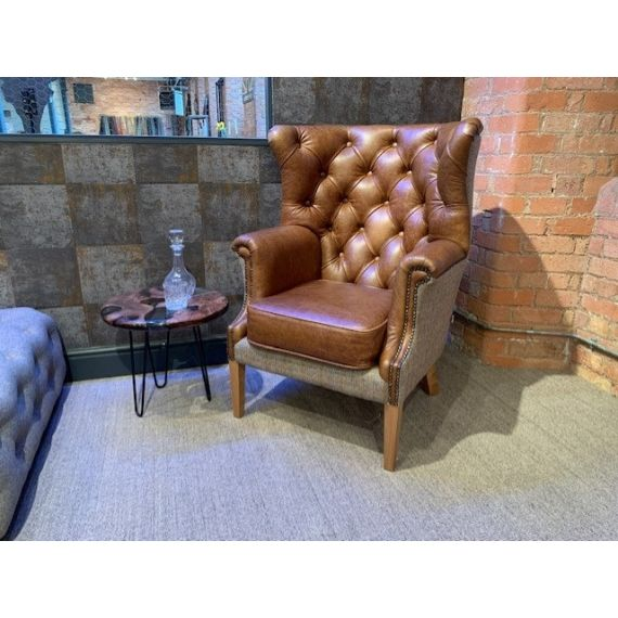 Vintage Armchair - Winchester Wingback Chair - Brown Aniline Leather & Hunting Lodge Harris Tweed Wool