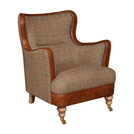 Vintage Ellis Snug Chair - Hunting Lodge Harris Tweed & Italian Brown Aniline Leather
