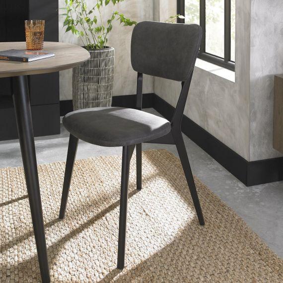 Vintage Peppercorn Dining Chair - Dark Grey Fabric (Pair)