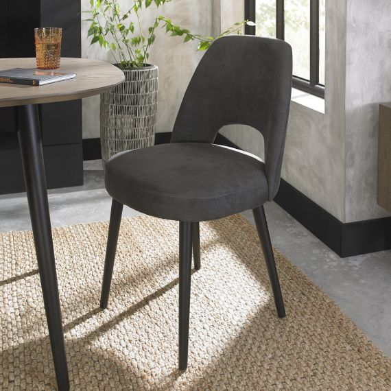 Vintage Peppercorn Upholstered Dining Chair - Dark Grey Fabric (Pair)