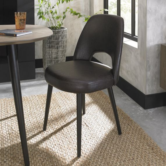 Vintage Peppercorn Upholstered Dining Chair - Old West Vintage Brown Leather (Pair)