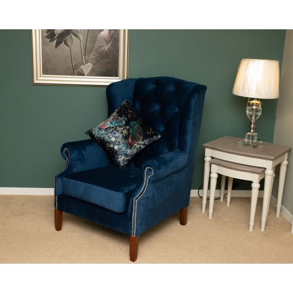 Wingback Armchair - Chesterfield Chair - Plush Marine Blue Velvet
