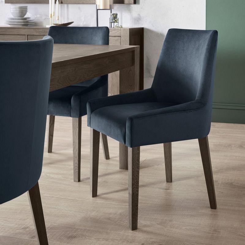 Ella Dark Oak Scoop Back Dining Chair Dark Blue Velvet Fabric Pair Turin Furniture Oak Furniture Uk
