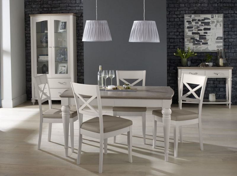 Montreux Grey Washed Oak Extending, Grey Painted Dining Room Furniture