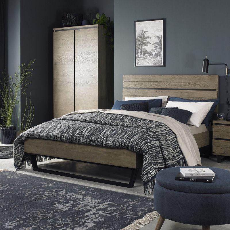 Tivoli Weathered Oak King Size Bed, Weathered Oak Bedroom Furniture