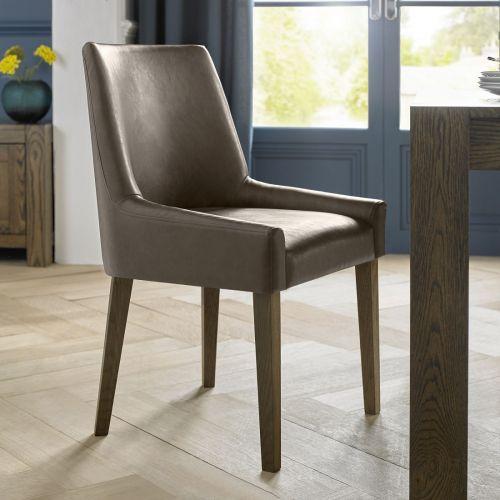 Ella Dark Oak Scoop Back Dining Chair - Brown Distressed Leather (Pair)