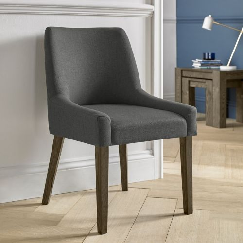 Ella Dark Oak Scoop Back Dining Chair - Cold Steel Fabric (Pair)