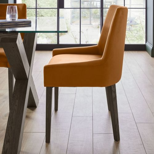 Ella Dark Oak Scoop Back Dining Chair - Harvest Pumpkin Velvet (Pair)