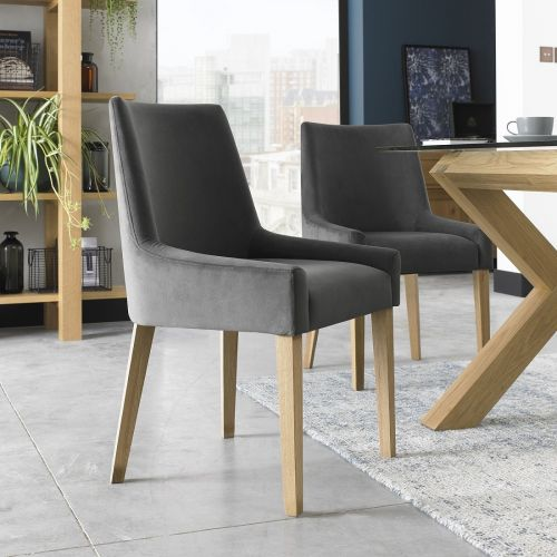 Ella Light Oak Scoop Back Dining Chair - Gun Metal Velvet (Pair)