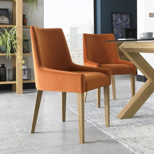 Ella Light Oak Scoop Back Dining Chair - Harvest Pumpkin Velvet (Pair)