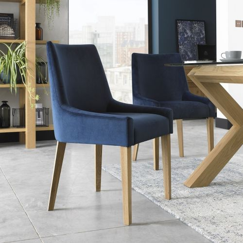 Ella Light Oak Scoop Back Dining Chair - Dark Blue Velvet (Pair)