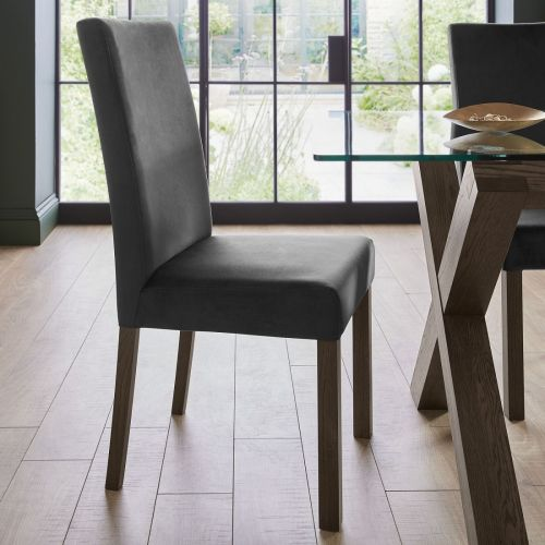 Parker Dark Oak Square Back Dining Chair - Gun Metal Velvet (Pair)