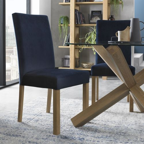 Parker Light Oak Square Back Dining Chair - Dark Blue Velvet (Pair)