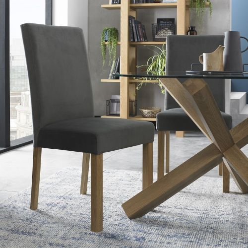 Parker Light Oak Square Back Dining Chair - Gun Metal Velvet (Pair)