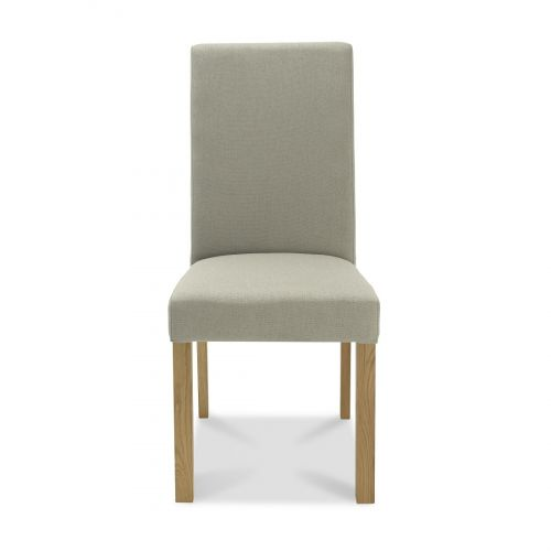 Parker Light Oak Square Back Dining Chair - Silver Grey Fabric (Pair)