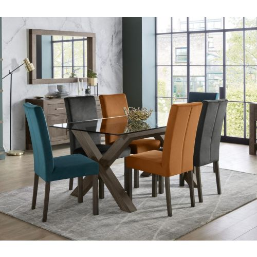 Turin Dark Oak 6 Seater Glass Top Dining Table