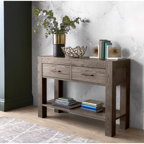 Turin Dark Oak Console Table with Drawers