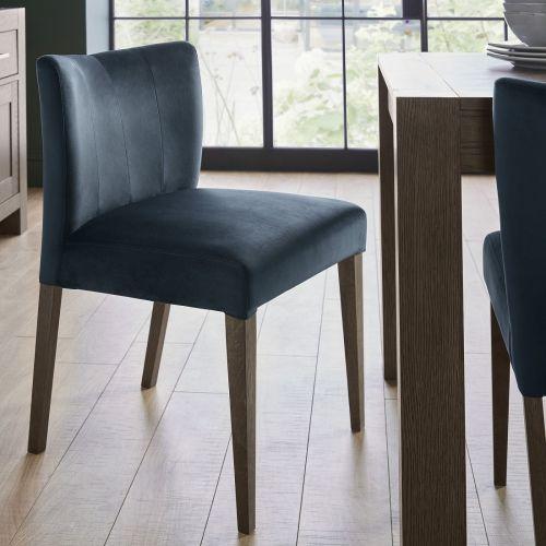 Turin Dark Oak Low Back Dining Chair - Dark Blue Velvet (Pair)