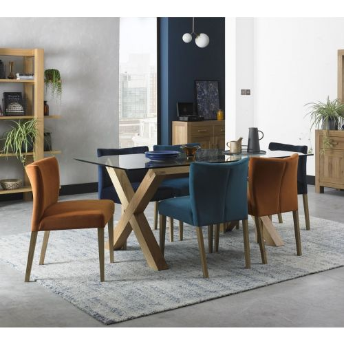 Turin Light Oak 6 Seater Glass Top Dining Table
