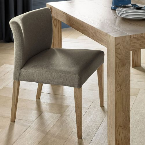 Turin Light Oak Low Back Dining Chair - Black Gold Fabric (Pair)