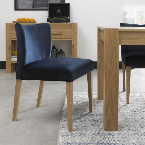 Turin Light Oak Low Back Dining Chair - Dark Blue Velvet (Pair)