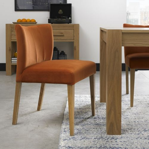 Turin Light Oak Low Back Dining Chair - Harvest Pumpkin Velvet (Pair)