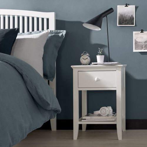 Ashby White Painted 1 Drawer Bedside Table - Ashby Bedroom Furniture