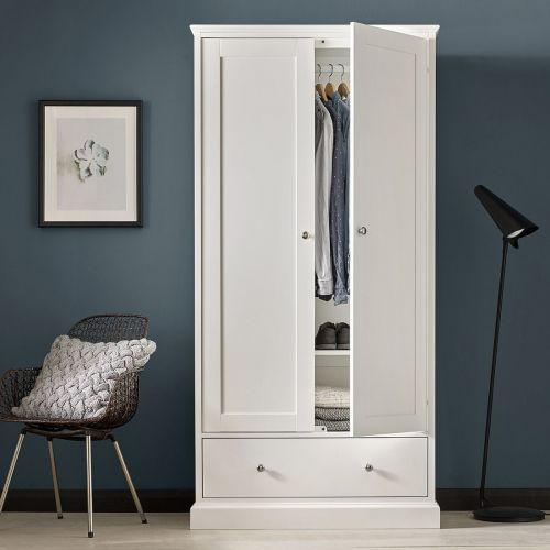 Ashby White Painted Double Wardrobe with Drawer - Ashby Bedroom Furniture