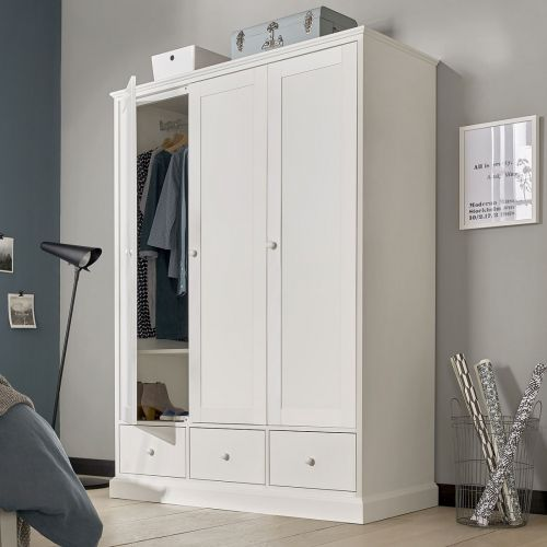 Ashby White Painted Triple Wardrobe with Drawers - Ashby Bedroom Furniture