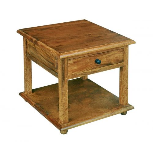 Asian Solid Mango Wood 1 Drawer Bedside Table/Lamp Table