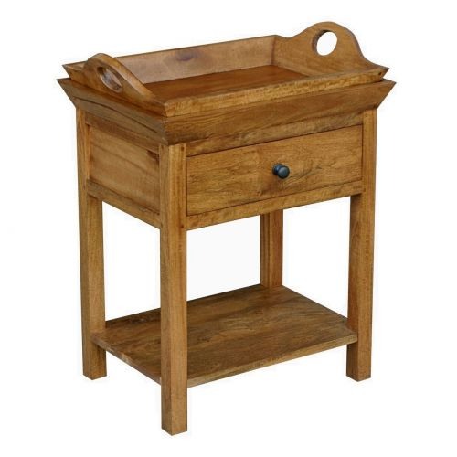 Asian Solid Mango Wood 1 Drawer Side Table with lift off tray
