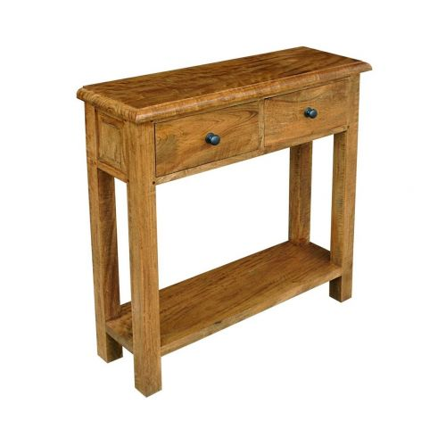 Asian Solid Mango Wood 2 Drawer Console Table