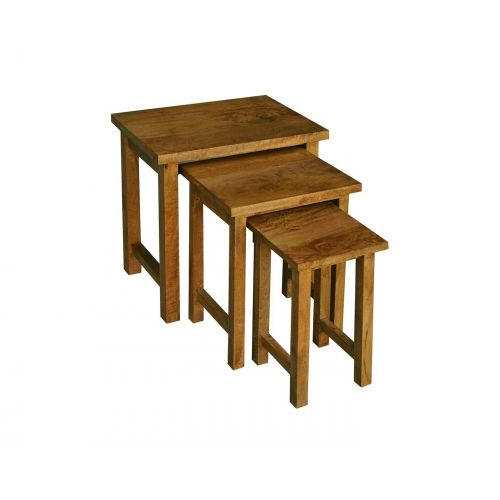 Asian Solid Mango Wood Nest of 3 Tables