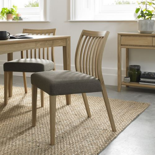 Bergen Oak Low Slat Back Dining Chair - Black Gold Fabric (Pair)