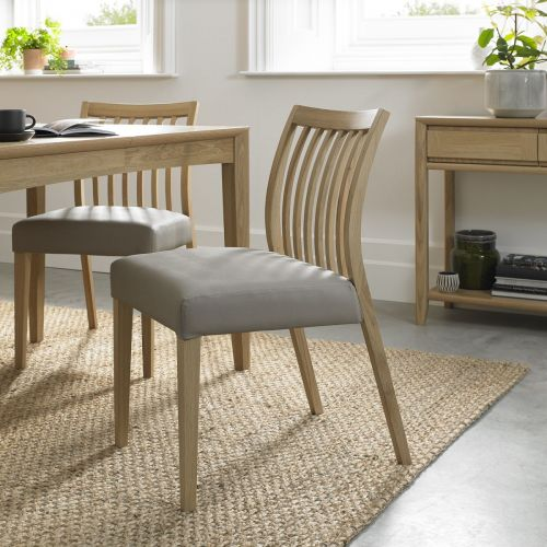 Bergen Oak Low Slat Back Dining Chair - Grey Leather (Pair)