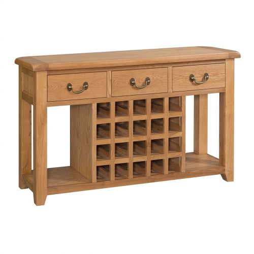 Buttermere Light Oak Open Sideboard with Wine Rack